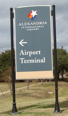 Sign for Alexandria International Airport (AEX) located at England Air Park
