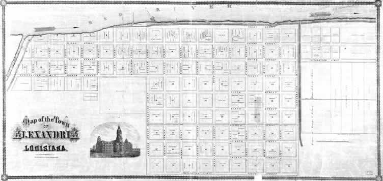 Alexandria Louisiana Map of Downtown - 1872