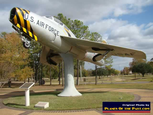 F-84F Thunderstreak at airpark at entrance to AEX
