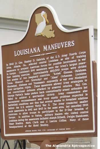 Louisiana Maneuvers sign, outside Hotel Bentley, downtown Alexandria Louisiana