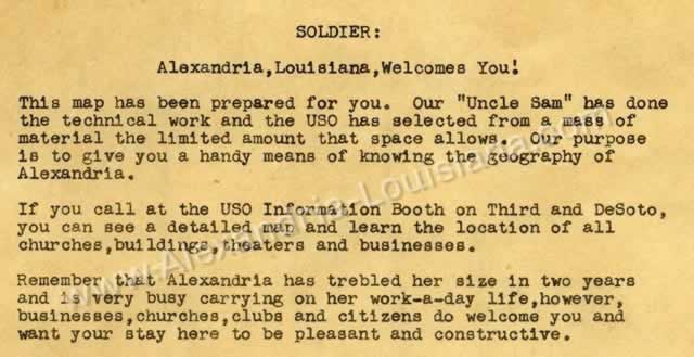 """SOLDIER: Alexandria, Louisiana Welcomes You!"" - USO information sheet and local bus routes and map for soldiers at Camp Livingston in the 1940s"