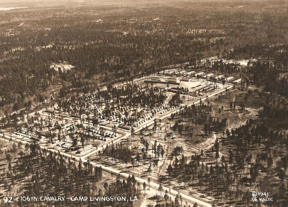Aerial view of the 106th Cavalry (Chicago National Guard) encampment at Camp Livingston, Louisiana