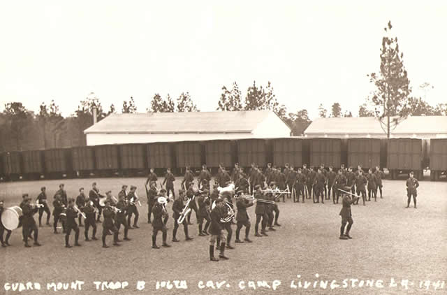 Troop B of the 106th Cavalry (Chicago, National Guard) marching at Camp Livingston in 1941