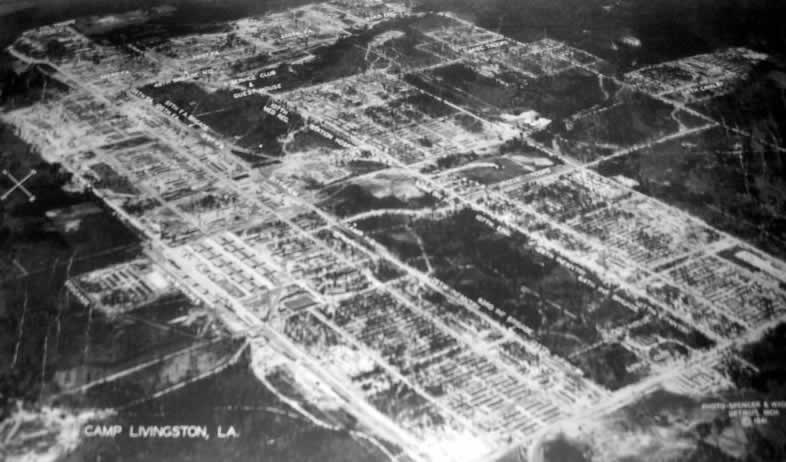 Aerial photo of Camp Livingston near Alexandria, Louisiana, in 1941