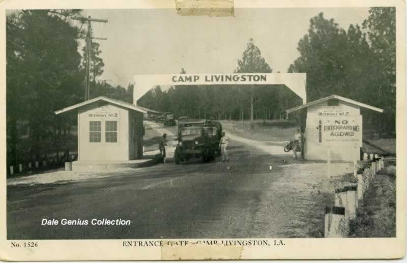 U.S. Army Camp Livingston entry gate during World War II