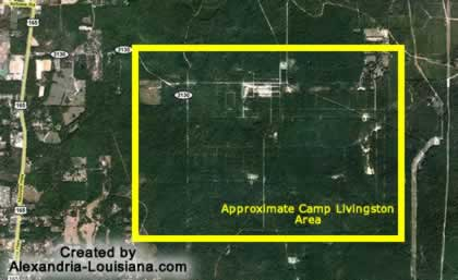 Satellite image of the Camp Livingston Louisiana area, 2016, courtesy of Google Maps ... click for interactive map