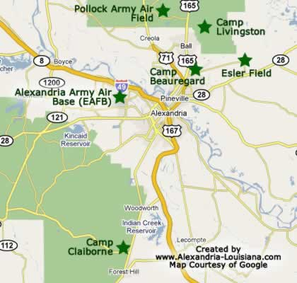 World War II military camps in the Alexandria Louisiana area
