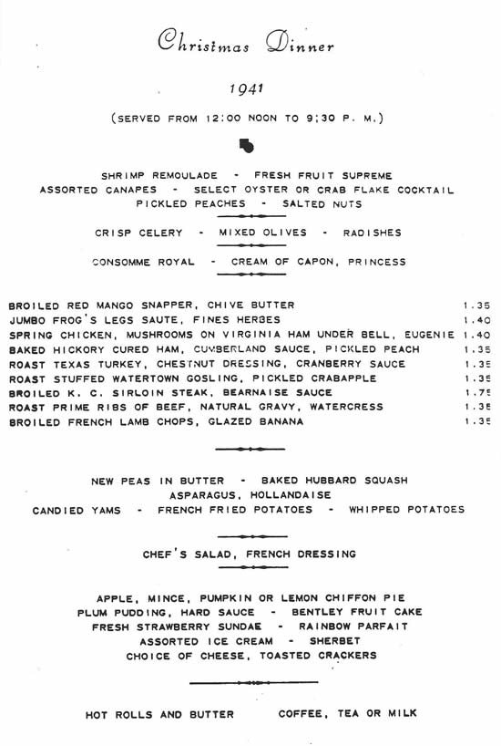 Christmas 1941 dinner menu from the Hotel Bentley in Alexandria, Louisiana