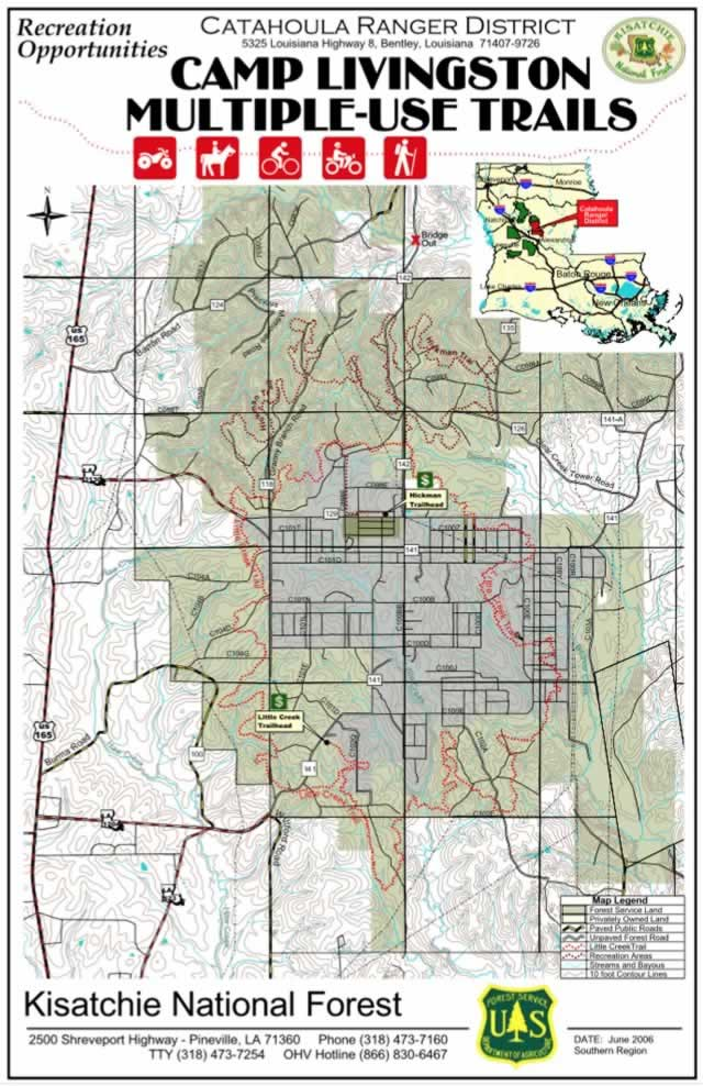 Map of the U.S. Forest Service Camp Livingston Multi-Use Trails