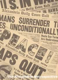 Newspaper headline - Peace! World War II ends