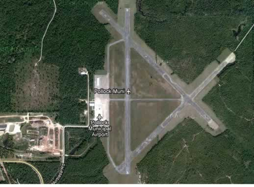 Aerial view of Pollock Municipal Airport in Louisiana, the former Pollock Army Airfield