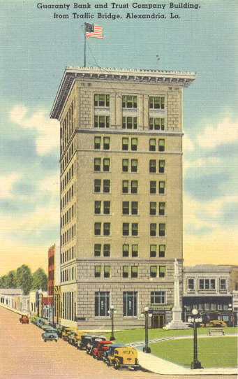 Guaranty Bank and Trust Company building, Alexandria, Louisiana, seen in an historic postcard